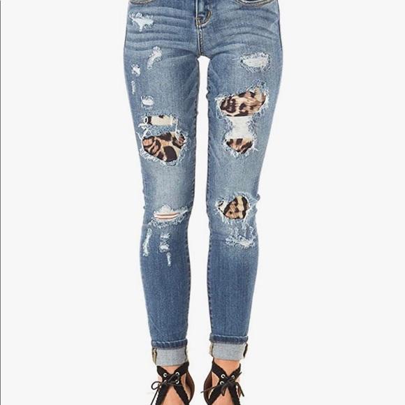 Ugerlov jeans distressed leopard